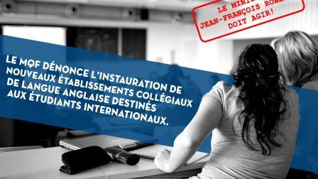 Le MQF dénonce linstauration de nouveaux établissments collégiaux de langue anglaise 1